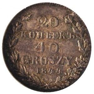 20 kopiejek = 40 groszy 1844, Warszawa, Plage 391, Bitk...