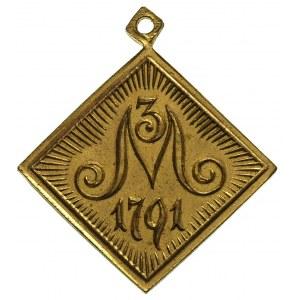 czworokątny medalik z okazji obchodów stulecia Konstytu...