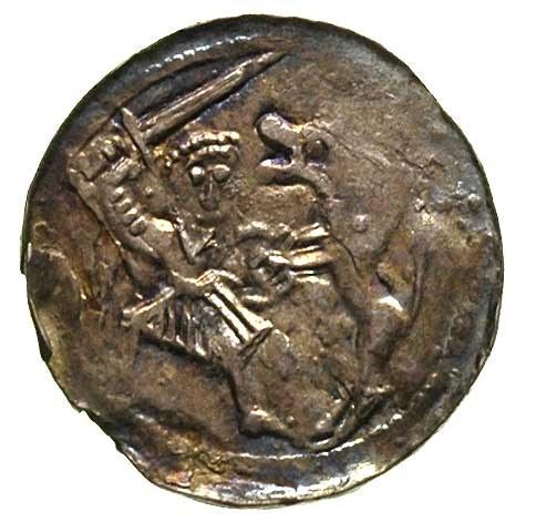 Władysław Wygnaniec 1138-1146, denar, Aw: Książe na tro...