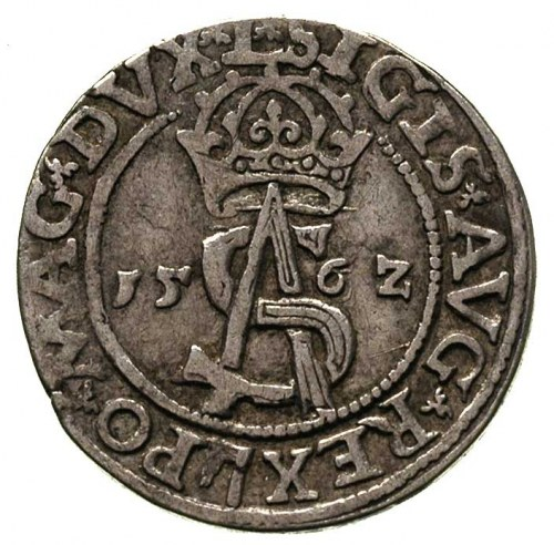 trojak 1562, Wilno, ozdobny monogram rytownika Piotra P...