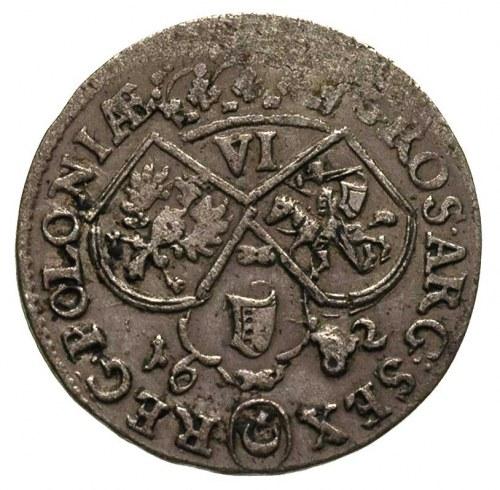 szóstak 1682, Kraków, popiersie króla w zbroi, patyna