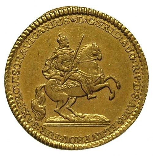 dukat wikariacki 1745, Drezno, Aw: Król na koniu, Rw: O...