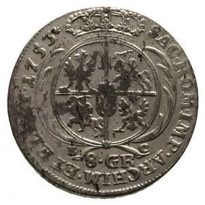 dwuzłotówka (8 groszy) 1753, odmiana z dużymi literami ...