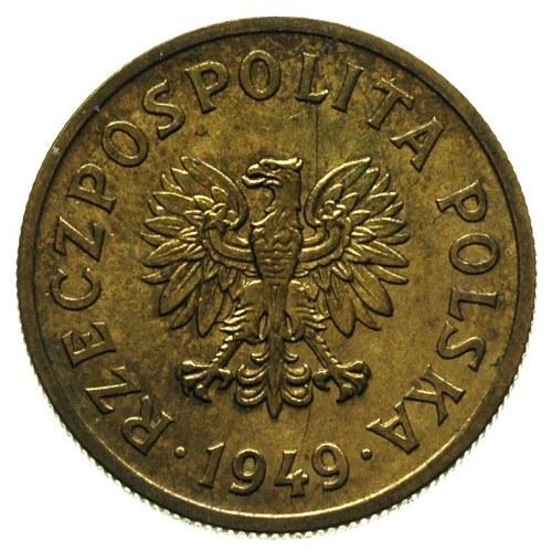 50 groszy 1949, na rewersie wklęsły napis PRÓBA, Parchi...