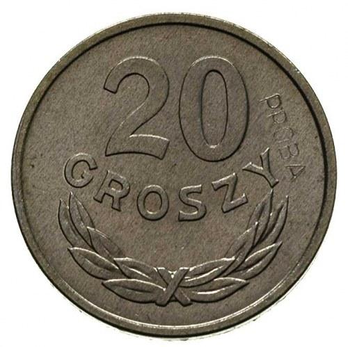 20 groszy 1949, na rewersie wklęsły napis PRÓBA, Parchi...