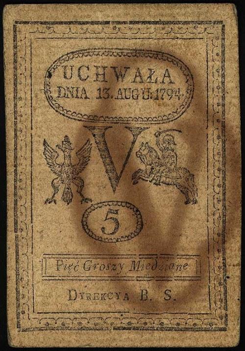 5 groszy miedziane 13.08.1794, Miłczak A8, Lucow 38 (R1...