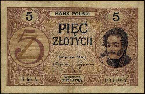 5 złotych 28.02.1919, S.66.A 051964, Miłczak 49b, Lucow...