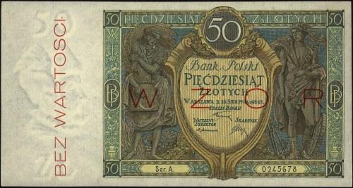 50 złotych 28.08.1925, seria A 0245678, WZÓR, Miłczak 6...