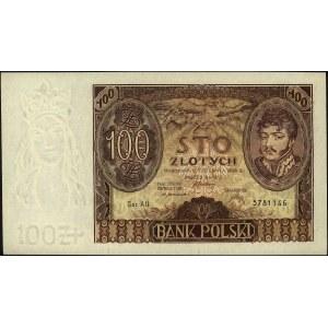100 złotych 2.06.1932, seria AU, znak wodny- dwie kresk...