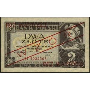 2 złote 26.02.1936, seria BI 1234567, WZÓR, Miłczak 75a...
