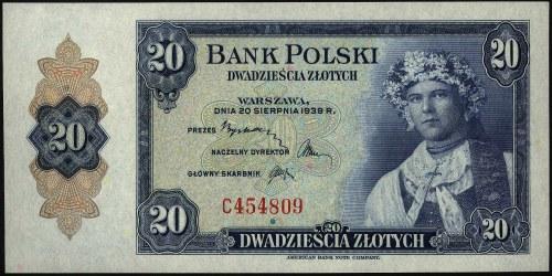 20 złotych 20.08.1939, seria C, Miłczak 87a, rzadkie