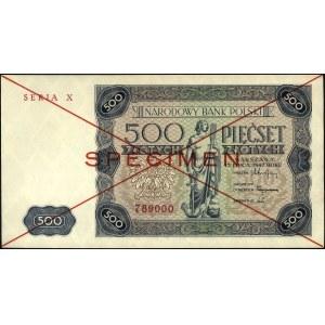 500 złotych 15.07.1947, seria X 789000, SPECIMEN, Miłcz...