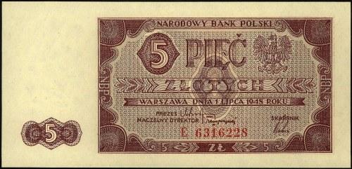 5 złotych 1.07.1948, seria E, Miłczak 135a, rzadkie