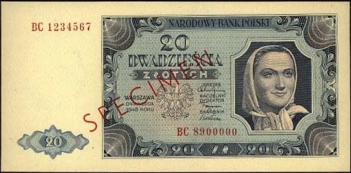 20 złotych 1.07.1948, seria BC 1234567 BC 8900000, SPEC...