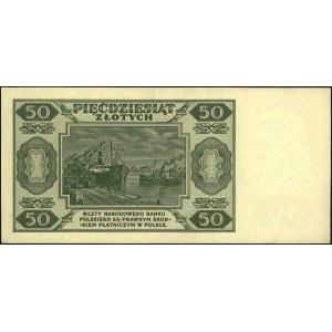 50 złotych 1.07.1948, seria A, numeracja siedmiocyfrowa...