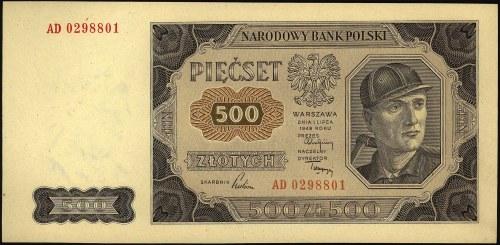 500 złotych 1.07.1948, seria AD, Miłczak 140b