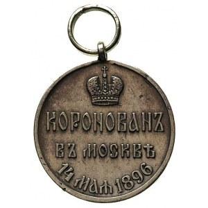 medal koronacyjny Mikołaja II 1896, srebro, 27 mm, Diak...