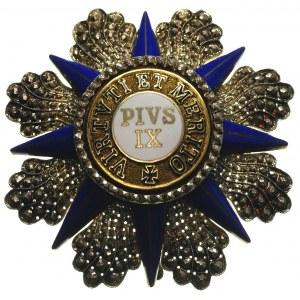 Order Piusa IX, gwiazda, srebro 82 mm, emalia, srebrne ...
