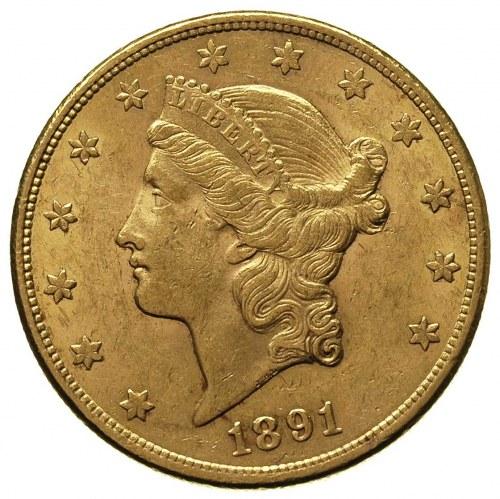 20 dolarów 1891 / CC, Carson City, Fr. 179, złoto 33.41...