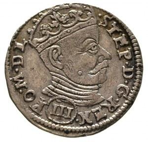 trojak 1580, Wilno, III w okrągłej tarczy pod popiersie...