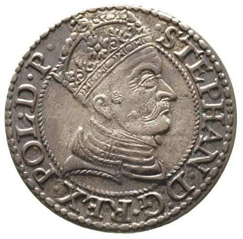grosz 1579, Gdańsk, minimalna wada blachy, delikatna pa...
