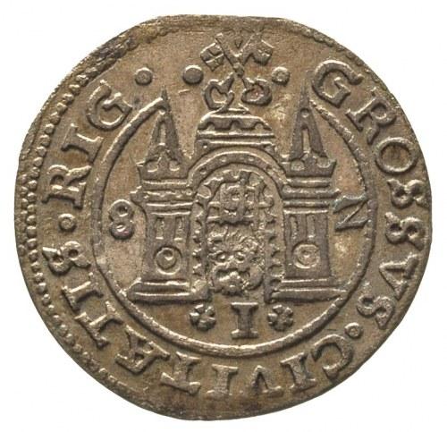 grosz 1582, Ryga, Gerbaszewski 1, ciemna patyna ze złoc...