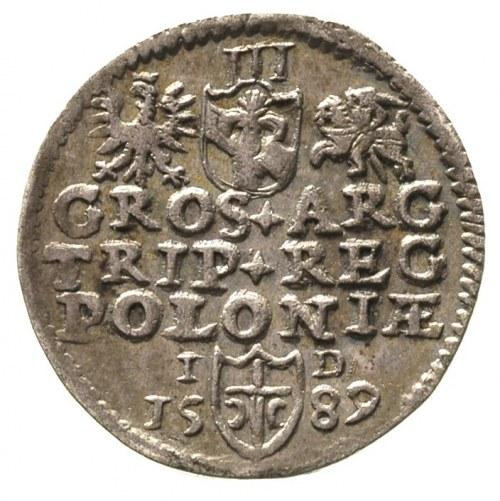 trojak 1589, Olkusz, znak mennicy na końcu napisu, paty...