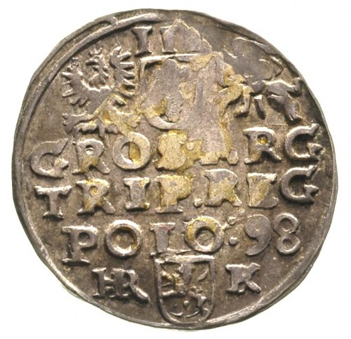 trojak 1598, Wschowa, ciemna patyna, moneta błędnie prz...