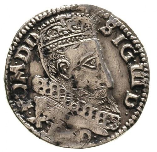 trojak 1599, Lublin, nieco powyginany, ciemna plamiasta...