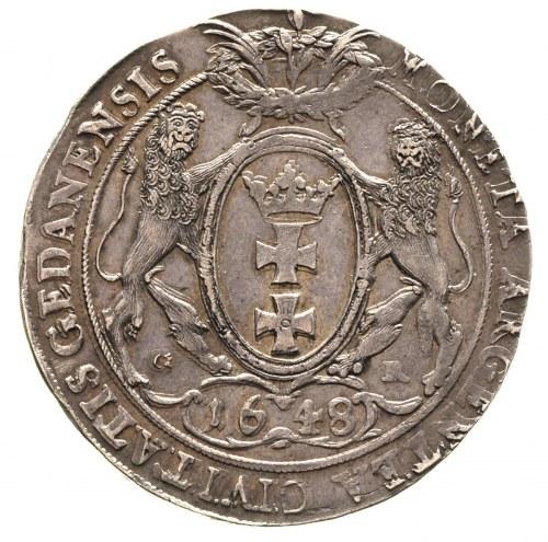 talar 1648, Gdańsk, 28.58 g, Dav. 4356, T. 10, bardzo ł...