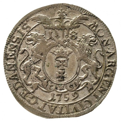 ort 1759, Gdańsk, odmiana z literami CHS pod tarczą her...