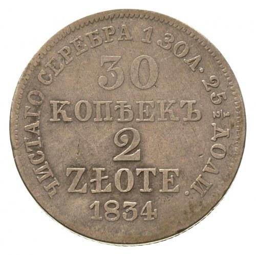 30 kopiejek = 2 złote 1834, Warszawa, Plage 371 R1, Bit...