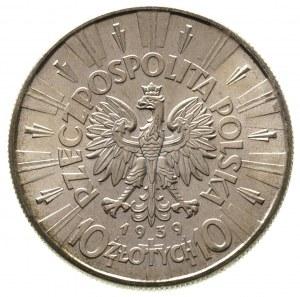 10 złotych 1939, Warszawa, Józef Piłsudski, Parchimowic...