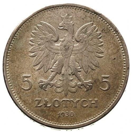 5 złotych 1930, Warszawa, Nike, Parchimowicz 114 c, pat...