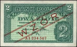 zestaw wzorów banknotów emigracyjnych: 1, 2, 5, 10, 20,...
