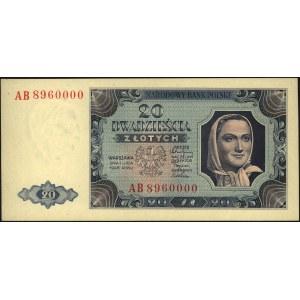20 złotych 1.07.1948, seria AB 8960000, Miłczak 137b, b...