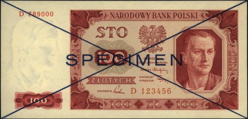 100 złotych 1.07.1948, SPECIMEN, seria D 123456 / D7890...