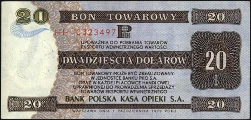 bon PKO SA na 20 dolarów 1.10.1979, seria HH 0323497, M...