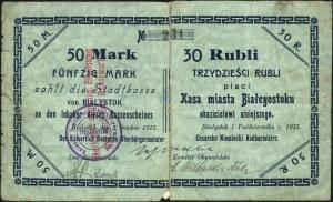 Białystok, 50 marek = 30 rubli i 100 marek = 60 rubli 1...