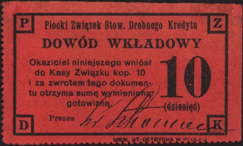 Płock, 5, 10 i 20 kopiejek emitowane przez Płocki Związ...