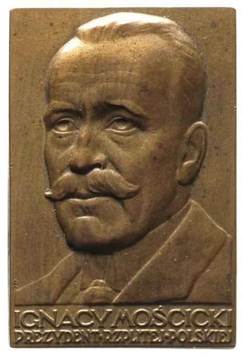 Ignacy Mościcki, plakieta autorstwa J. Aumillera, niesy...