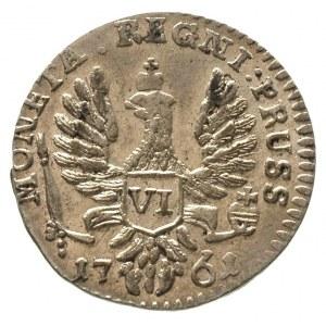 szóstak 1761, Królewiec, typ z perłami we włosach, Diak...