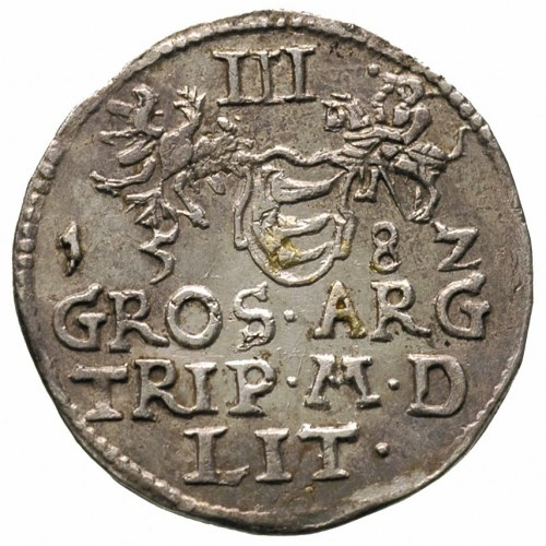 trojak 1582, Wilno, cyfry daty rozstawione szeroko, Ige...