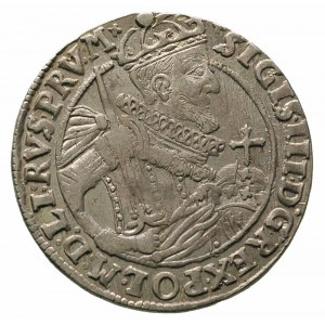ort 1623, Bydgoszcz, szeroka głowa króla, w koronie nad...