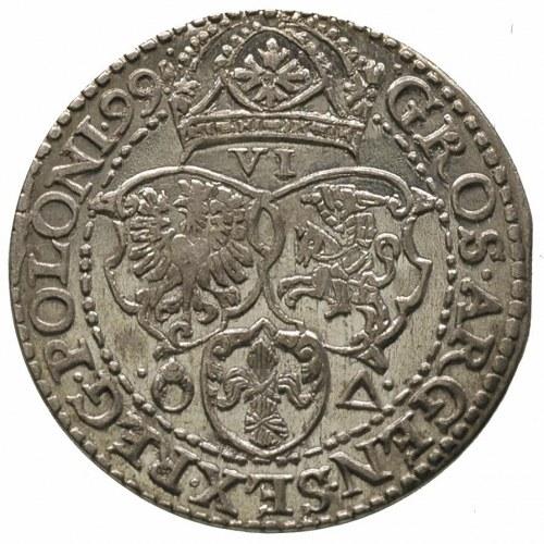 szóstak 1599, Malbork, rzadka odmiana z dużą głową król...