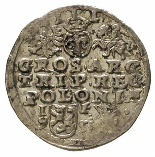 trojak 1595, Lublin, skrócona data u dołu herbu Lewart,...