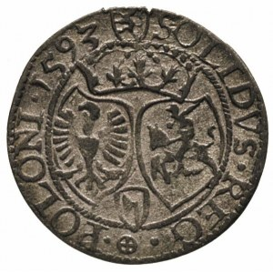 szeląg 1593, Olkusz, herb Topór na awersie i rewersie, ...