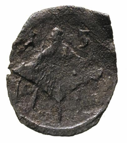 denar 1613, Łobżenica, skrócona data po bokach herbu Br...