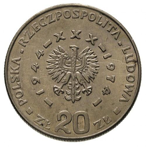 20 złotych 1974, XXX LAT PRL, na rewersie wypukły napis...