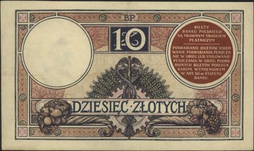 10 złotych 15.07.1924, II Emisja F, Miłczak 58a, Lucow ...